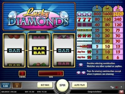 Casumo featuring the Video Slots Lucky Diamonds with a maximum payout of $12,500