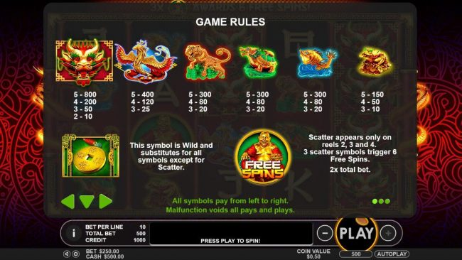 Crystal Casino Club featuring the Video Slots Lucky Dragons with a maximum payout of $40,000