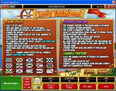 Players Palace featuring the Video Slots Lucky Eggsplorer with a maximum payout of $30,000