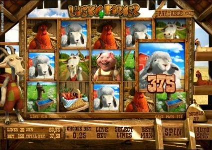 five of a kind triggers a 375 coin jackpot award