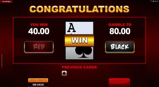 Making the correct choice during the gamble feature has the potential to increase your winnings.