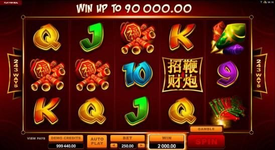 Casino Moons featuring the Video Slots Lucky Firecracker with a maximum payout of $90,000