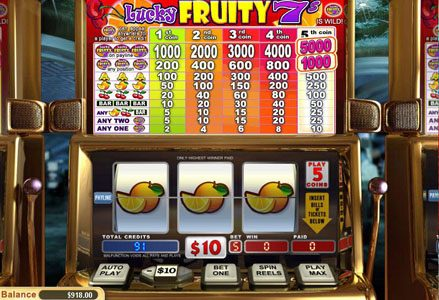 Red Stag featuring the Video Slots Lucky Fruity 7's with a maximum payout of $50,000