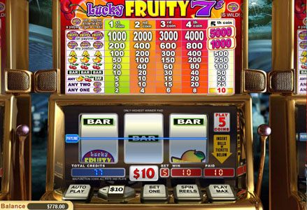 Liberty Slots featuring the Video Slots Lucky Fruity 7's with a maximum payout of $50,000