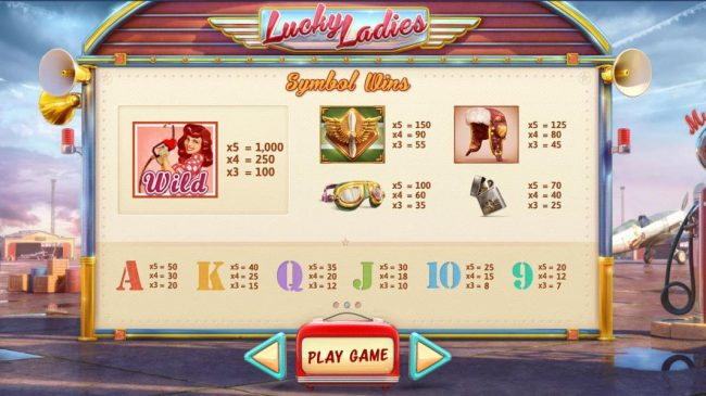 Slot game symbols paytable - high value symbol is the wild which is represented by three different girls.