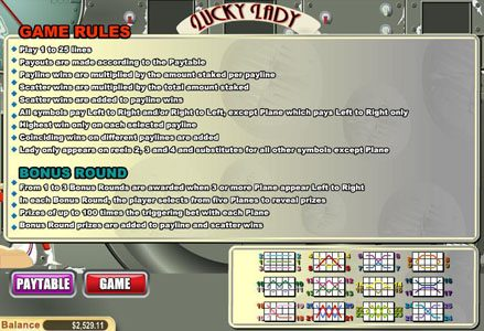Red Stag featuring the Video Slots Lucky Lady with a maximum payout of $10,000