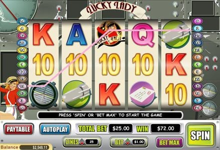 Liberty Slots featuring the Video Slots Lucky Lady with a maximum payout of $10,000