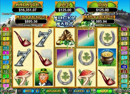 Plenty Jackpots featuring the Video Slots Lucky Last with a maximum payout of $250,000
