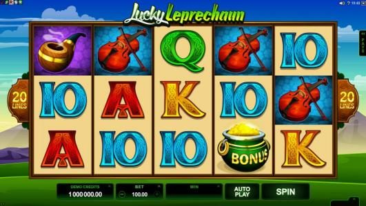 Rose Slots featuring the Video Slots Lucky Leprechaun with a maximum payout of $5,000
