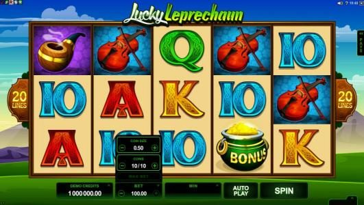 Casino Red Kings featuring the Video Slots Lucky Leprechaun with a maximum payout of $5,000