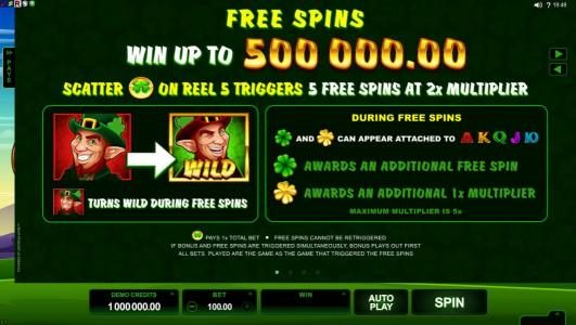 Lucky Nugget featuring the Video Slots Lucky Leprechaun with a maximum payout of $5,000