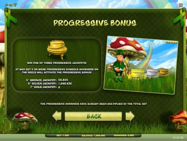 Lucky Leprechaun :: Progressive Bonus - Win one of three progressive jackpots! max bet 5 or more progressive symbols anywhere on the reels will activate the progressive bonus!