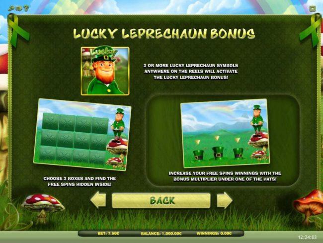 Lucky Leprechaun :: Lucky Leprechaun Bonus - 3 or more Lucky Leprechaun symbols anywhere on the reels will activate the Lucky Leprechaun Bonus!