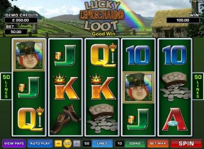 Lucky Leprechaun's Loot :: a pair of scatter symbols triggers a $100 payout