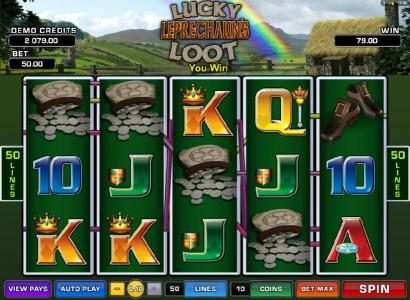 Lucky Leprechaun's Loot :: multiple winning payline triggers a modest jackpot