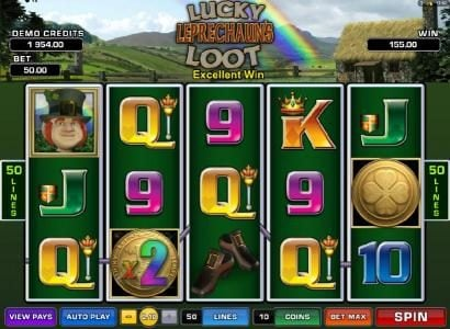 Lucky Leprechaun's Loot :: wild multipler leads to a $155 payout