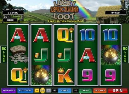 Lucky Leprechaun's Loot :: free spins feature pays out an $814 big win