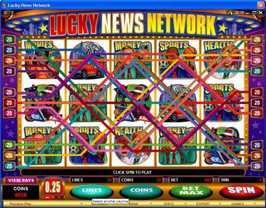 Nostalgia Casino featuring the Video Slots Lucky News Network with a maximum payout of $10,000