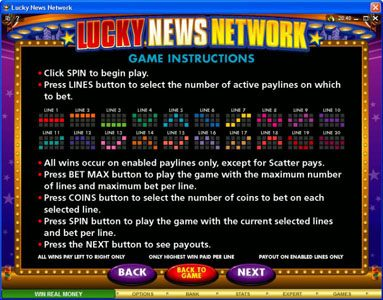 Play slots at Spin Palace: Spin Palace featuring the Video Slots Lucky News Network with a maximum payout of $10,000