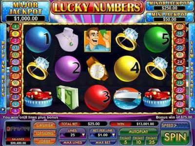BuzzLuck featuring the Video Slots Lucky Numbers with a maximum payout of $12,345
