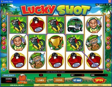 Royal Panda featuring the Video Slots Lucky Shot with a maximum payout of $75,000