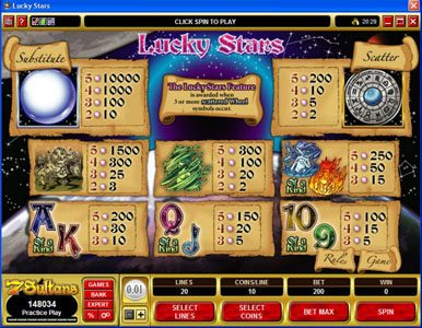 Play slots at PropaWin: PropaWin featuring the Video Slots Lucky Stars with a maximum payout of $100,000