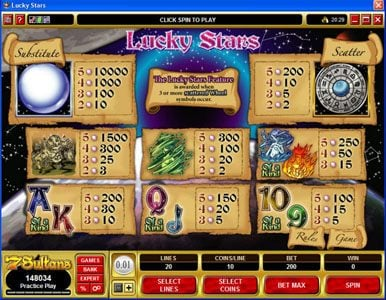 All British featuring the Video Slots Lucky Stars with a maximum payout of $100,000