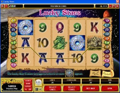 Rich Reels featuring the Video Slots Lucky Stars with a maximum payout of $100,000