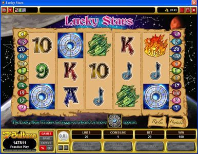 Casino Red Kings featuring the Video Slots Lucky Stars with a maximum payout of $100,000