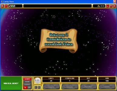 Dragonara featuring the Video Slots Lucky Stars with a maximum payout of $100,000