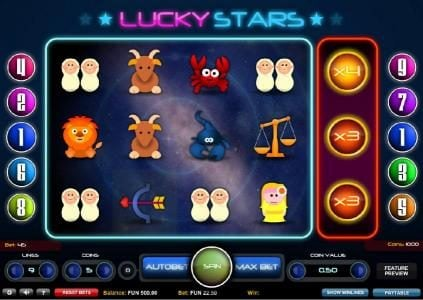 Play slots at Queen Vegas: Queen Vegas featuring the Video Slots Lucky Stars with a maximum payout of $4,480