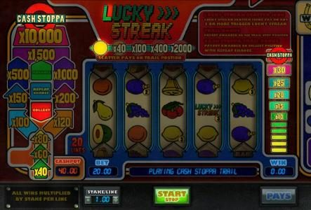 Lucky Streak :: Cash Stoppa bonus feature triggered