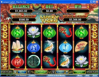 Play slots at Casino Extreme: Casino Extreme featuring the Video Slots Lucky Tiger with a maximum payout of $50,000