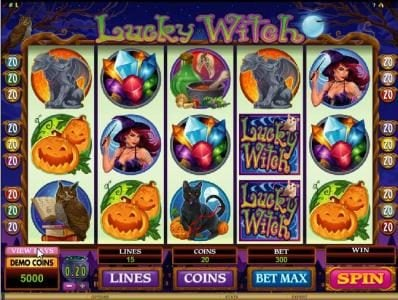 Aztec Ritces featuring the Video Slots Lucky Witch with a maximum payout of $12,000