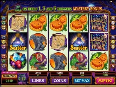 Euro Palace featuring the Video Slots Lucky Witch with a maximum payout of $12,000