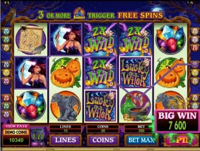 Winner Million featuring the Video Slots Lucky Witch with a maximum payout of $12,000