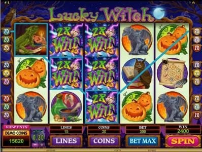 Queen Vegas featuring the Video Slots Lucky Witch with a maximum payout of $12,000