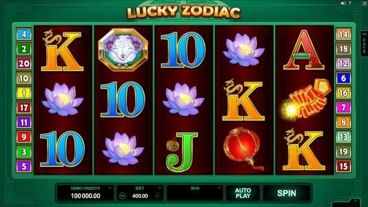 Zodiac featuring the Video Slots Lucky Zodiac with a maximum payout of $560,000