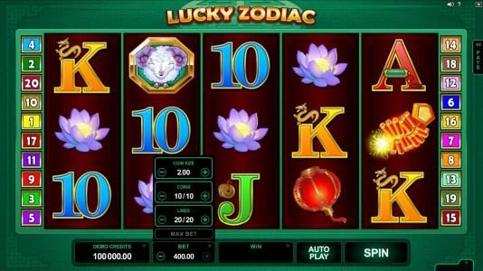 Ruby Fortune featuring the Video Slots Lucky Zodiac with a maximum payout of $560,000