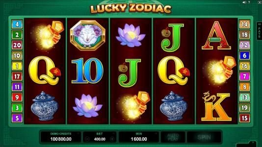 Golden Tiger featuring the Video Slots Lucky Zodiac with a maximum payout of $560,000