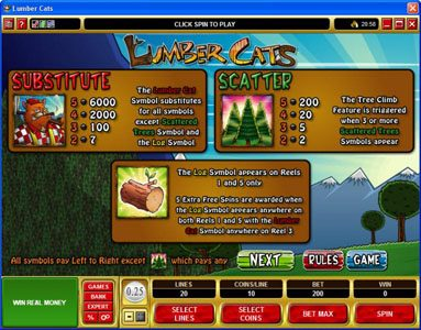Norskespill featuring the Video Slots Lumber Cats with a maximum payout of $75,000