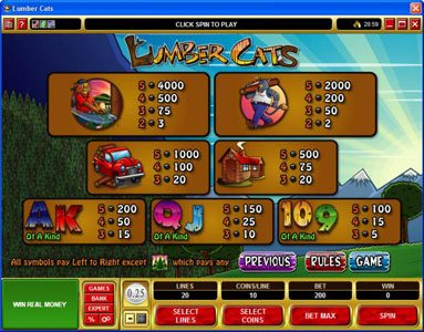 10Bet featuring the Video Slots Lumber Cats with a maximum payout of $75,000