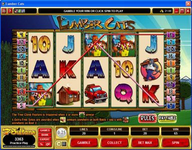 Zodiac featuring the Video Slots Lumber Cats with a maximum payout of $75,000