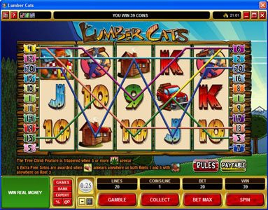 Clover Casino featuring the Video Slots Lumber Cats with a maximum payout of $75,000
