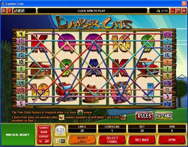 Vegas Joker featuring the Video Slots Lumber Cats with a maximum payout of $75,000