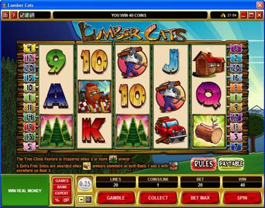Reel Vegas featuring the Video Slots Lumber Cats with a maximum payout of $75,000