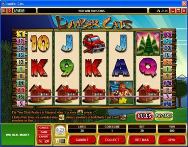 Golden Tiger featuring the Video Slots Lumber Cats with a maximum payout of $75,000
