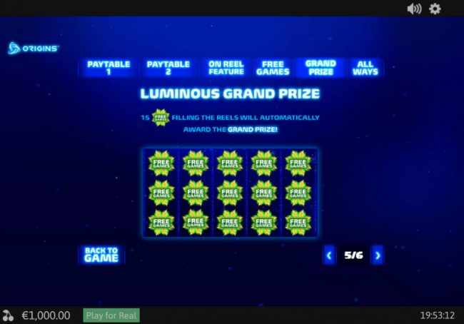 Betfair featuring the Video Slots Luminous Life with a maximum payout of $75,000