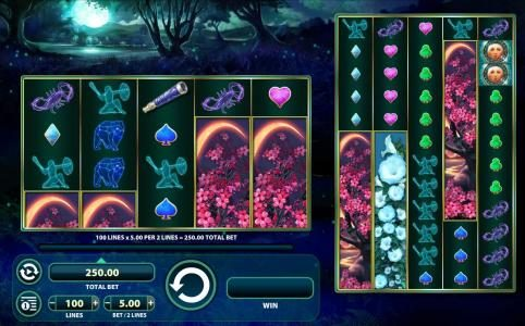 Lunaris :: Main game board featuring five reels and 100 paylines with a $1,250 max payout