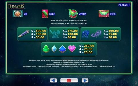 Lunaris :: Low value slot game symbols paytable